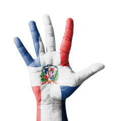 Open hand raised, multi purpose concept, Dominican flag painted