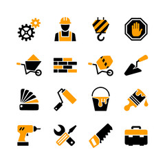 16 web icons set - building, construction, tools, repair