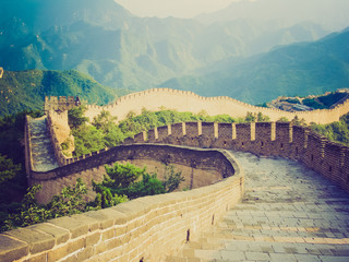 Fotobehang Chinese Muur Chinese Great Wall retro look