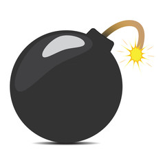 Cartoon bomb with shadow