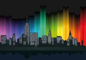 New York mit bunten Lichtern
