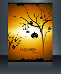 Happy Halloween holiday brochure reflection colorful background