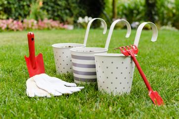 Flowerpots and garden hand tools