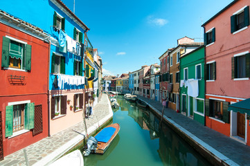 Venice, Burano island - Coloured houses and canal