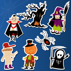 Set of cute Halloween character stickers