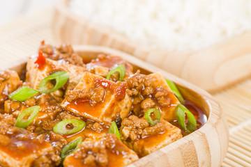Mapo Tofu - Szechuan tofu and minced pork dish.