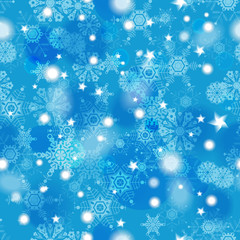 Beautiful blue winter seamless pattern with snowflakes. Eps10