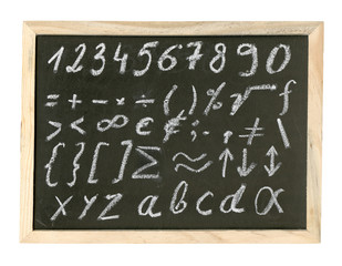 Chalkboard with mathematical symbols