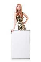 Woman with blank board on the white