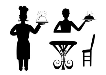 Chief and waiter silhouettes