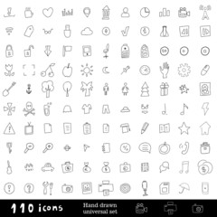 Hand drawn universal set of icons