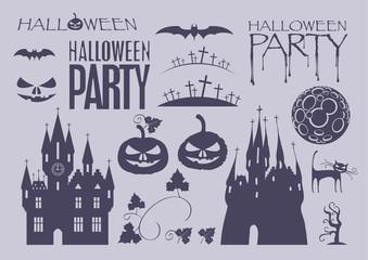 set of design elements on Halloween