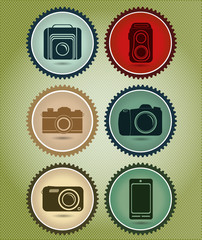 Abstract vector set of symbols with the evolution of the camera
