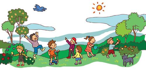 Children having a good time in spring landscape (vector)