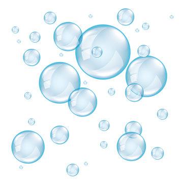 Transparent soap bubbles photo realistic vector