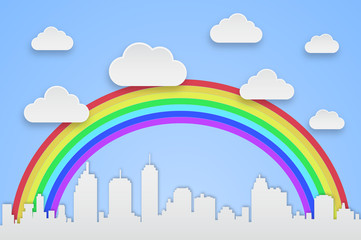background city with clouds and rainbow