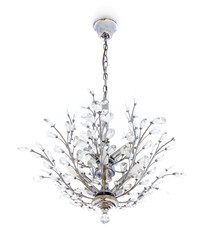 White home interior - Crystal chandelier with hanging crystals.