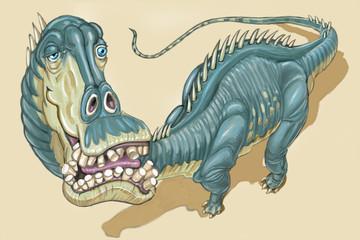 Diplodocus Dinosaur with Goofy Expression Illustration