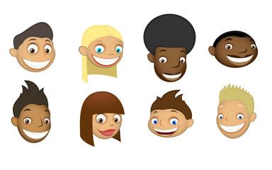 set of children's heads
