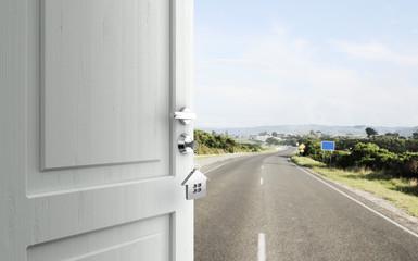 door in road