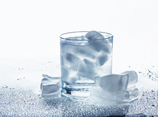 A glass with water and ice
