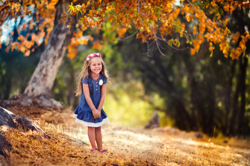 portrait of a happy toddler girl at beautiful autumn park