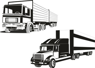 Two black white colored vector trucks