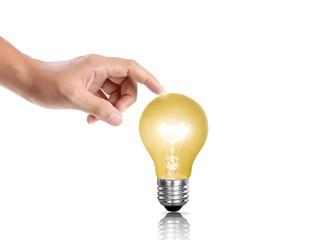 bulb light in a hand