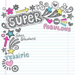 Super Student Praise Back to School Doodles Vector Illustration