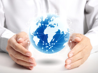 Globe  in human hand