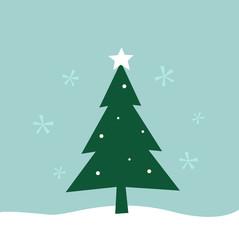 Retro winter Merry Christmas Tree