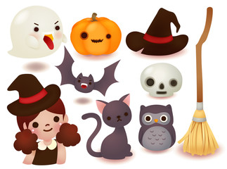Collection of cute halloween icon