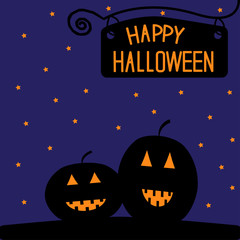 Happy Halloween  pumpkin card. Starry night.