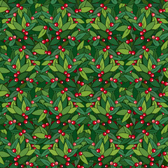 Seamless pattern with berry and leaves. Gardening background.
