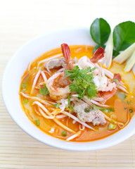 Thai Dishes, Tom Yam Koong soup with noodles