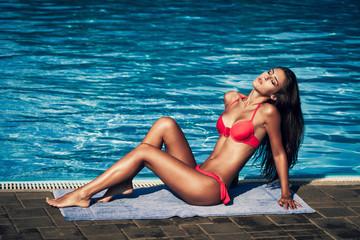 sunbath by the pool