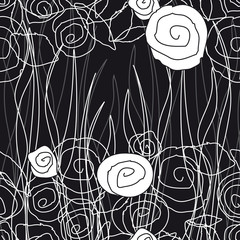 Printed kitchen splashbacks Floral black and white pattern91