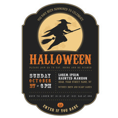 Vintage Halloween invitation with witch flying on a broom