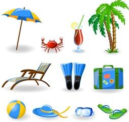 Путешествие икон, пальмы, мяч, гостиная, ласты и чемодан