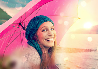 portrait of a girl with umbrella / pink umbrella 04