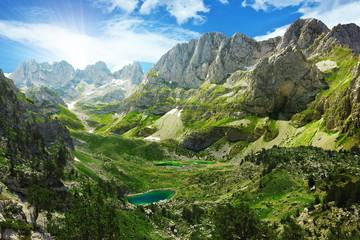 Obraz Amazing view of mountain lakes in Albanian Alps - fototapety do salonu