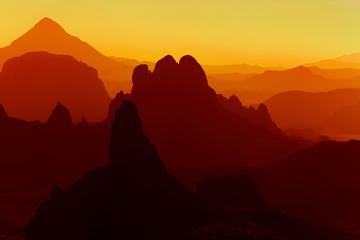 Wall Murals Algeria Sunrise in Sahara Desert, Hoggar mountains, Algeria