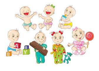 Happy babies doing different activities
