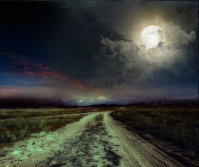 Poster Full moon road in the night