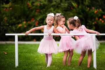 Group of little girls doing ballet bar exercises