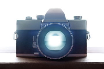 Old Retro Film Camera Closeup with backlight