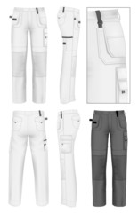 Men's working trousers design template