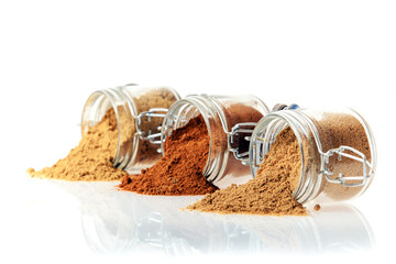 Glass jars of ground spice