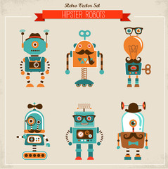 Set of vintage hipster robot icons
