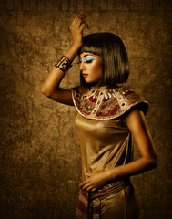 egyptian style woman mapeup, Cleopatra, bronze portrait
